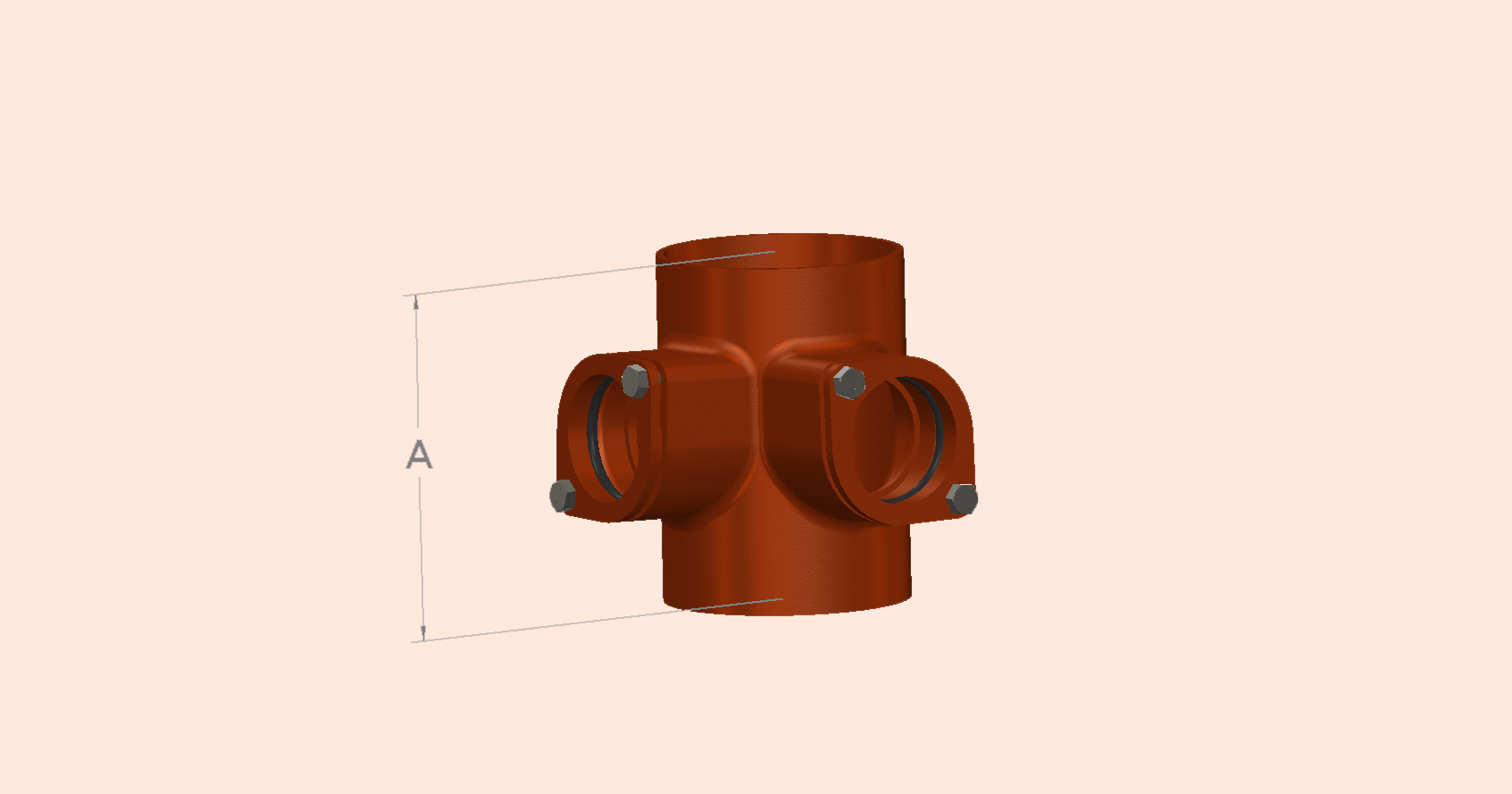 Drain Double Compression Fit Boss Pipe - at 90 degrees
